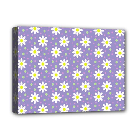 Daisy Dots Violet Deluxe Canvas 16  X 12