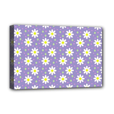 Daisy Dots Violet Deluxe Canvas 18  X 12