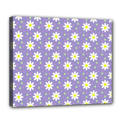 Daisy Dots Violet Deluxe Canvas 24  X 20