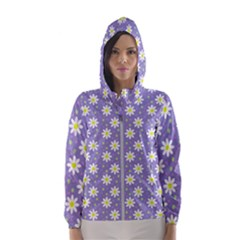 Daisy Dots Violet Hooded Wind Breaker (women)
