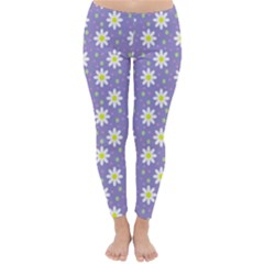 Daisy Dots Violet Classic Winter Leggings