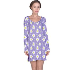 Daisy Dots Violet Long Sleeve Nightdress
