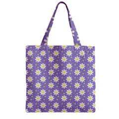 Daisy Dots Violet Zipper Grocery Tote Bag
