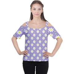 Daisy Dots Violet Cutout Shoulder Tee