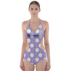 Daisy Dots Violet Cut Out One Piece Swimsuit