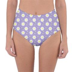 Daisy Dots Violet Reversible High Waist Bikini Bottoms
