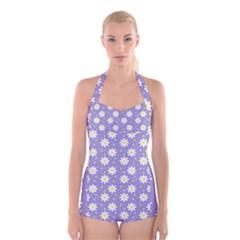 Daisy Dots Violet Boyleg Halter Swimsuit