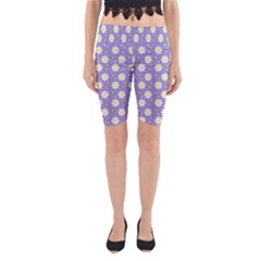Daisy Dots Violet Yoga Cropped Leggings