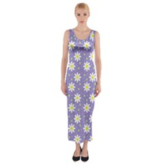 Daisy Dots Violet Fitted Maxi Dress