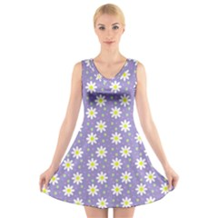 Daisy Dots Violet V Neck Sleeveless Skater Dress