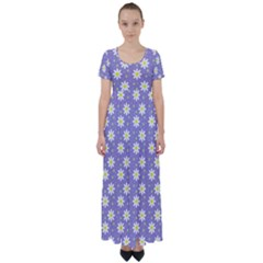 Daisy Dots Violet High Waist Short Sleeve Maxi Dress