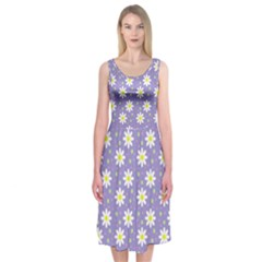 Daisy Dots Violet Midi Sleeveless Dress