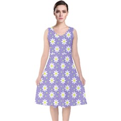 Daisy Dots Violet V Neck Midi Sleeveless Dress