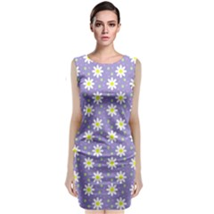 Daisy Dots Violet Classic Sleeveless Midi Dress