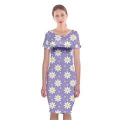 Daisy Dots Violet Classic Short Sleeve Midi Dress