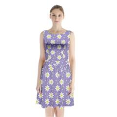 Daisy Dots Violet Sleeveless Waist Tie Chiffon Dress