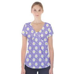 Daisy Dots Violet Short Sleeve Front Detail Top