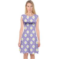 Daisy Dots Violet Capsleeve Midi Dress