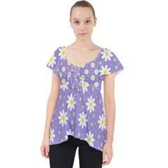 Daisy Dots Violet Lace Front Dolly Top