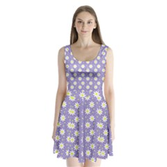 Daisy Dots Violet Split Back Mini Dress