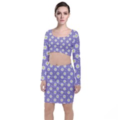 Daisy Dots Violet Long Sleeve Crop Top & Bodycon Skirt Set