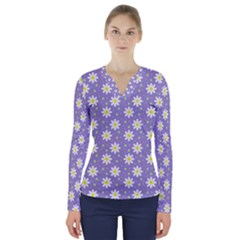 Daisy Dots Violet V Neck Long Sleeve Top