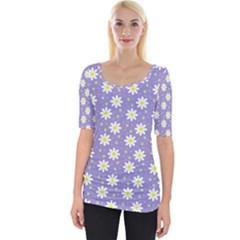 Daisy Dots Violet Wide Neckline Tee
