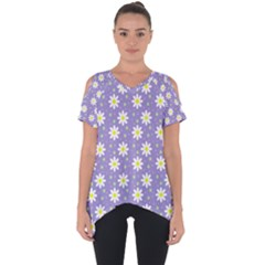 Daisy Dots Violet Cut Out Side Drop Tee