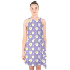 Daisy Dots Violet Halter Collar Waist Tie Chiffon Dress