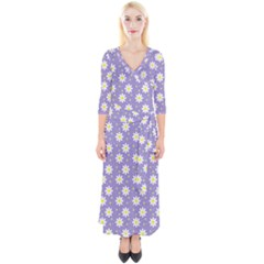 Daisy Dots Violet Quarter Sleeve Wrap Maxi Dress