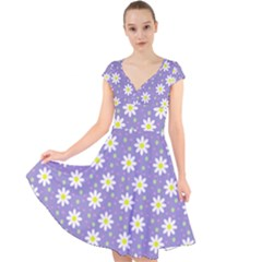 Daisy Dots Violet Cap Sleeve Front Wrap Midi Dress