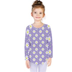 Daisy Dots Violet Kids  Long Sleeve Tee