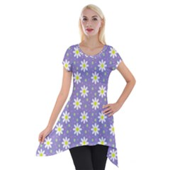 Daisy Dots Violet Short Sleeve Side Drop Tunic