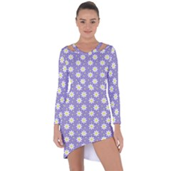 Daisy Dots Violet Asymmetric Cut Out Shift Dress