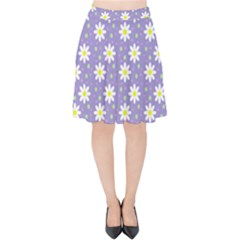 Daisy Dots Violet Velvet High Waist Skirt