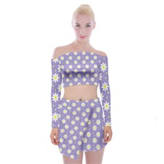 Daisy Dots Violet Off Shoulder Top With Mini Skirt Set