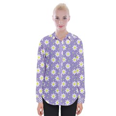 Daisy Dots Violet Womens Long Sleeve Shirt