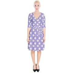 Daisy Dots Violet Wrap Up Cocktail Dress