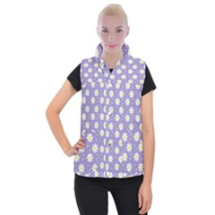 Daisy Dots Violet Women s Button Up Puffer Vest