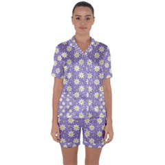 Daisy Dots Violet Satin Short Sleeve Pyjamas Set