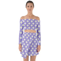 Daisy Dots Violet Off Shoulder Top With Skirt Set