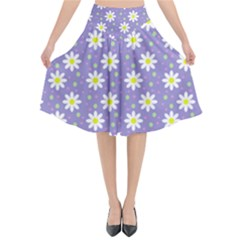 Daisy Dots Violet Flared Midi Skirt