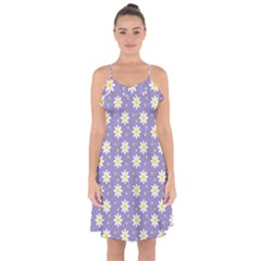 Daisy Dots Violet Ruffle Detail Chiffon Dress