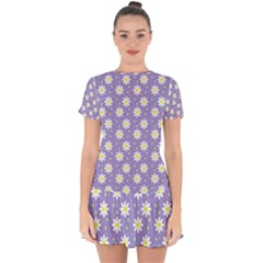 Daisy Dots Violet Drop Hem Mini Chiffon Dress
