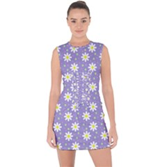 Daisy Dots Violet Lace Up Front Bodycon Dress