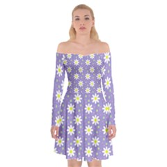 Daisy Dots Violet Off Shoulder Skater Dress
