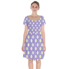 Daisy Dots Violet Short Sleeve Bardot Dress