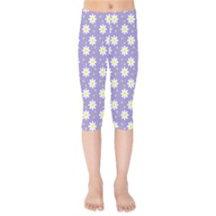 Daisy Dots Violet Kids  Capri Leggings