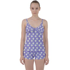 Daisy Dots Violet Tie Front Two Piece Tankini