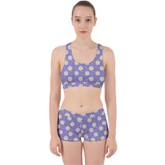 Daisy Dots Violet Work It Out Sports Bra Set